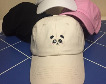 Panda Embroidered Unstructured 100% Cotton Polo Adjustable Baseball Dad Hat (off white)