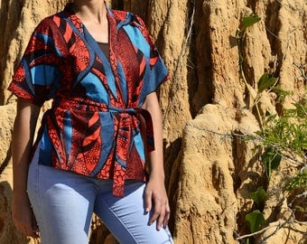 Red and Blue African Print Kimono Jacket