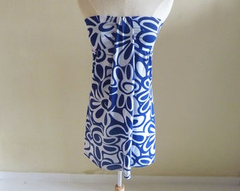 Blue and White Patterned Tube Dress