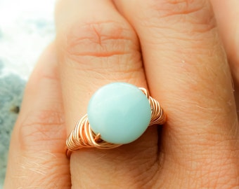 Amazonite wire ring, Gemstone ring, Wire wrapped ring, Copper wire ring, Amazonite ring, Stone ring, Copper wire wrapped ring, Handmade ring