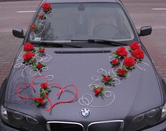 Wedding Car Decoration Kit Set red hearts & flowers and FREE ribbon bows for doors