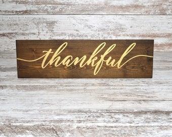 Thankful Sign | Thankful Wood Sign | Fall Sign | Fall Decor | Thanksgiving Sign | Thanksgiving Decor | Small Thankful Sign | Mantel Decor
