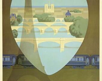 Beautiful vintage Orient Express London-Paris-Venice on paper poster matte 140g.