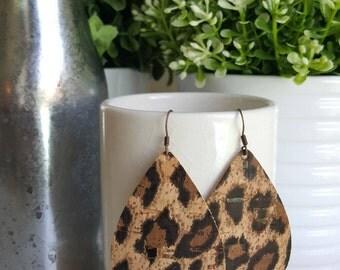 LEOPARD Cork Leather Earrings | Faux Leather Earrings| Vegan Lightweight Earrings | Vegan Leather Tear Drop Earrings | Portugese Cork