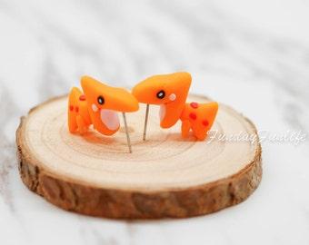 Cute Earrings, Miniature Jurassic Dinosaur Handmade polymer clay earrings, Clay animal stud jewelry, Accessories, Gift idea Animal Lovers