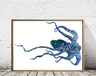Octopus, Valentines Day, Gift For Her, Gift For Girlfriend, Octopus Art, Octopus Painting, Nautical Decor, Octopus Watercolor, Animal Art