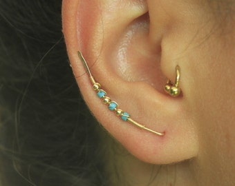 Gold Climber Jewelry,Ear Climber,Turquoise climber,gold climber,beaded climber earrings,climber jewelry,climber,pierced ear climber,climber