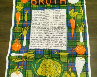 Scotch Broth Recipe on a Pure Linen Tea Towel Unused, Unwashed