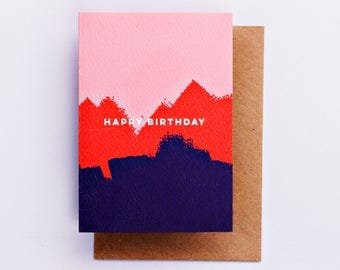 Happy Birthday Pink Red Painterly Card, Birthday Card, Fashion Stationery, Fashion Card, Pink Fashion Gift, Bday Card Cool Card, Brushstroke