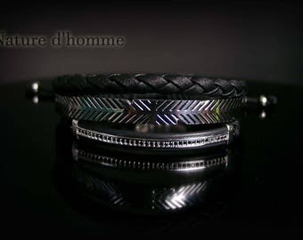 Men jewelry a trio of bracelets in leather and steel Ref: BN-447