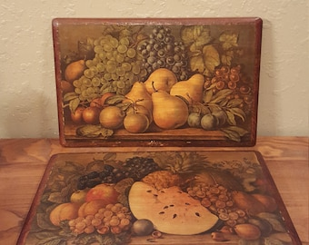 Vintage wooden antiqued Currier and Ives fruit prints on large wood plaques.  Hand antiqued and labeled on the back in the 1960's