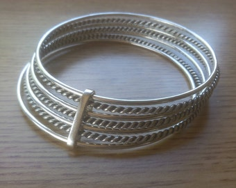 Twisted Silver Multi String Bangle