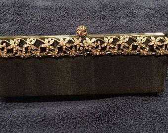 Black Vintage Clutch with Gold Flowers Closure Shoulder Bag