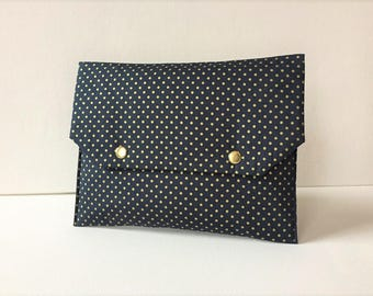 Pocket fabric flap, Blue Navy gold dots, inside plastic lined Navy stars gold