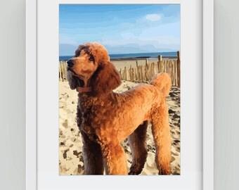 Poodle on the Beach, Giclée art print