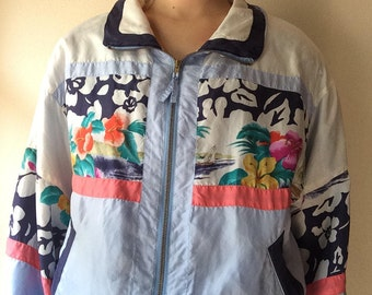 80's Vintage Floral Windbreaker, Women's Medium
