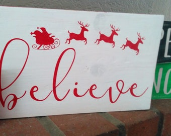 BELIEVE CHRISTMAS SIGN, Christmas wood sign, Christmas Decor, Believe Sign
