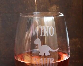 Winosaur Wine Glass/ Glass Etched Wine Glass/ Funny Wine Glass/ Stemless Wine Glass