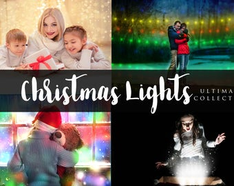 60 Christmas Light Overlays, Bokeh Overlay, Holiday Light, Magic Book Shine, Magical Lights, Photoshop