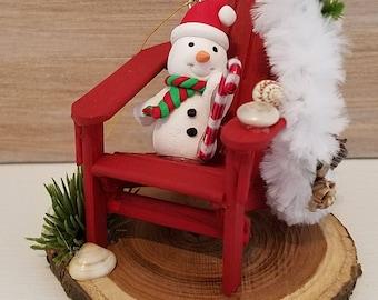 Miniature Adirondack Chair Christmas Ornament, Christmas Ornament, Snowman Holiday Ornament, Handmade, OOAK