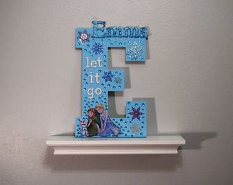 Custom Princess Letter, Elsa & Anna, Frozen Letter, Rhinestones, Frozen Décor, Girl Décor, Wooden Princess Letter, Disney Letter