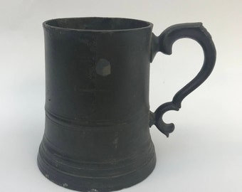 Georgian/Victorian Pewter Half Pint Tankard with Glass Bottom