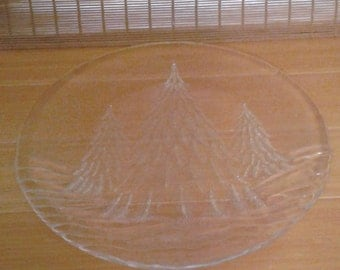 Clear platter/plate, spruce trees covered in snow