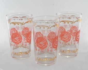 3, Vintage, Pink Roses Glasses Tumbler, Drinking glass, Retro, Highball Glass, Pink Rose Blush Design, 60s Juice Glass, Floral, Tea glass