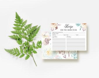 Floral Recipe Cards Bridal Shower Printable Recipe Cards 4x6 Boho Printed Recipe Cards DIY Bridal Recipe Card Digital Downloadable Back Side