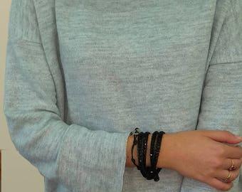 Black gift for her, crystals boho bracelet, chic rhinestone bracelet, black crystal wrap, chic bracelet, beaded wrap, adjustable bracelet