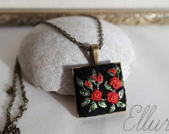 Embroidery jewelry Floral pendant Red rose necklace Nature lover gift Wife red jewelry Botanical necklace Unusual present Ukrainian jewelry