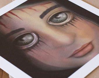 Digital Illustration Fine Art Print lowbrow pop surrealism big eyes BLACK TEARS