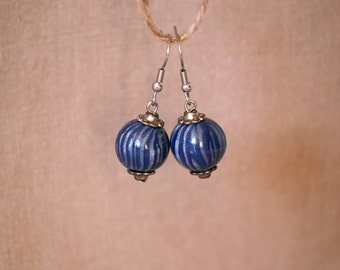 Blue stripes and silver polymer clay earrings