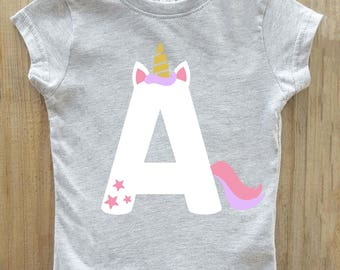 Unicorn shirt, girls unicorn shirt, abc shirt, alphabet shirt, unicorn birthday, personalized unicorn shirt, unicorn party, unicorn tshirt
