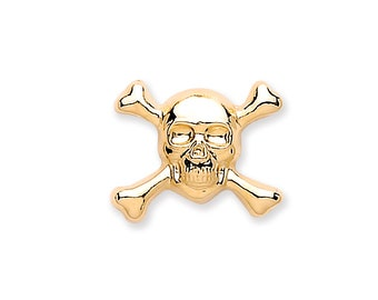 Men's 9ct Gold 7mm Skull & Crossbones Single Stud Earring