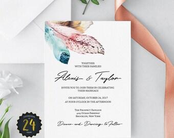 Feather Wedding Invitation - Boho Wedding invitation - Printable wedding invitation set – DIY wedding invitations