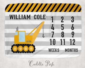 CONSTRUCTION MILESTONE Baby Boy Blanket, Milestone Blanket, Baby Photography Backdrop, Construction Nursery Decor, Newborn Boy Shower Gift