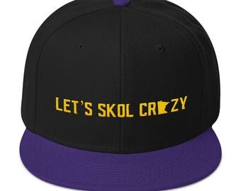 Let's Skol Crazy Minnesota Vikings Football Fan Purple Reign Miracle Purple and Gold Snapback Hat