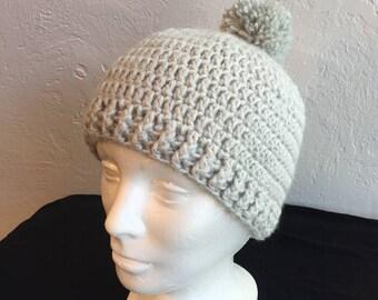 Gray Crochet Hat with Pom-Pom, Grey Hat
