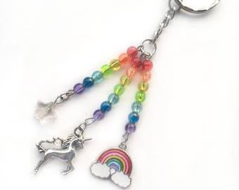 unicorn keyring, unicorn gift, unicorn keychain, rainbow unicorn, beaded keyring, beaded keychain, rainbow keyring, unicorn lover, girls