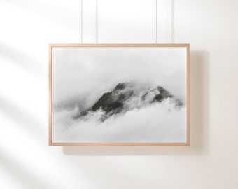 Fog Mountain Printable, Mountain Print, Minimalist, Black and White, Mountain Range, Printable Art, Nature Landscape, Scandinavian Poster
