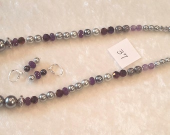 Amethyst Necklace with Earrings