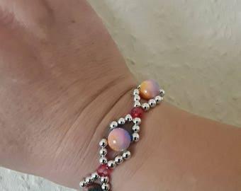 Bracelet handmade with glass and wax beads