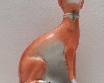 Victorian Staffordshire seated Greyhound