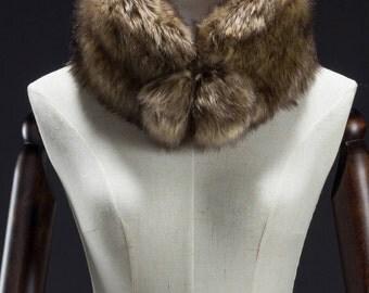 Brown Faux Fur Muffler, Neck Wrap, Ball End Muffler, Faux Fox Fur Muffler