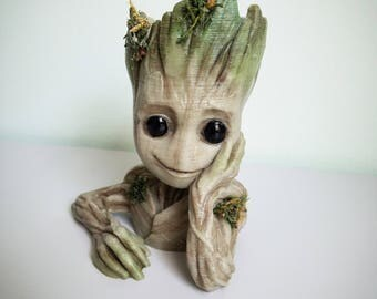 Baby Groot Planter - Guardians of the Galaxy Vol. 2 - US SELLER - Real Moss