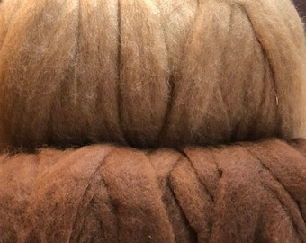 Premium Grade 3 Natural Colors Paco-Vicuna Roving- Sold by the Ounce- for Spinning, Knitting, Crochet, Weaving, Textiles, Fiber Arts
