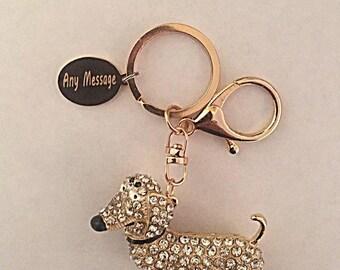 Personalised Dachshund Dog Crystal Rhinestone Engraved Cute Animal Keyring