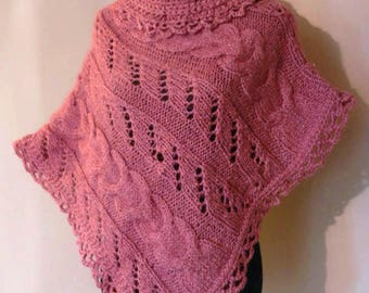 Pink wool and silk poncho, Women Pink Poncho, Silk Poncho, Hand Knitted Poncho