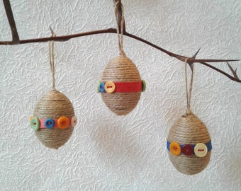 Set of 3 Easter eggs gift  Easter tree ornaments Spring decor Easter table centerpiece